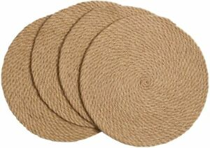 4-Pack-Braided-Placemats-Natural-Jute-Heat-Resistant-Thick-Hot-Pads-Mats-Trivet