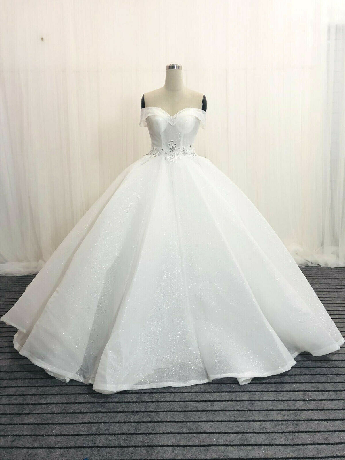 Classic off the shoulder white wedding dress ball gown glitter tulle with train