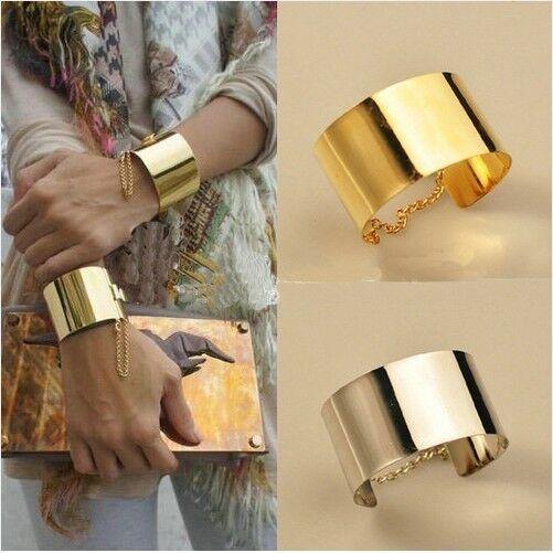 2013 New Fashion Korean Style lady's Golden Metallic Wide Bangle Chain Bracelet