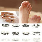 12PCS Lots Retro Celebrity Jewelry Silver Adjustable Open Toe Ring Finger Foot
