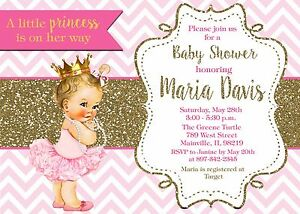 Image Is Loading Princess Baby Shower Pink Gold Any Skin Tone