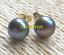 Charming-AAA-Tahitian-8-9mm-Cultured-black-green-pearl-earrings-14k-gold thumbnail 1