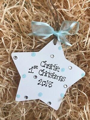 Cordiale Glitter Personalizzata Star Bambino 1st Decorazione Albero Di Natale Regalo Ricordo- Avere Sia La Qualità Della Tenacia Che La Durezza