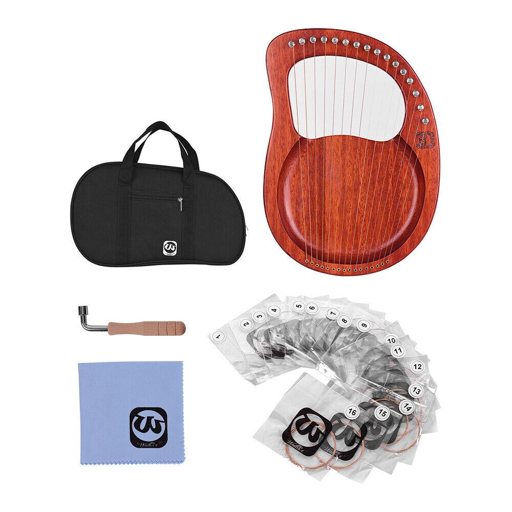 16 String Mahogany Wood Body Lyre Harp mit Tuning Wrench für Anfänger X9J9