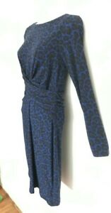 Michael-Kors-Over-The-Knee-dress-Wrap-Affect-Blue-Patterned-Sz-UK-8-NEW-XS