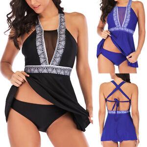6e99e7c6de202 Women Plus Size Tankini Set Boy Short Padded Push Up Swimdress ...
