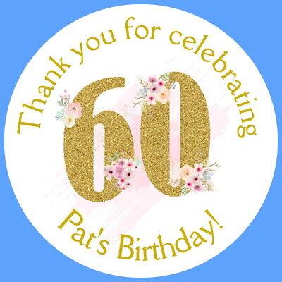 Personalised Gloss 60th Festa Di Compleanno Favore Etichette, Adesivi Di Ringraziamento-