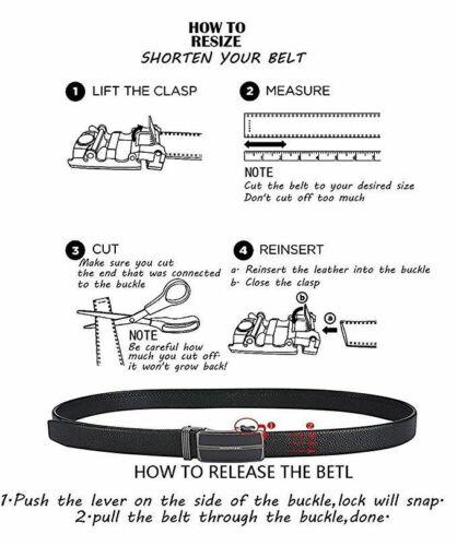 Black Buckles Mens Belts Black Ratchet Leather Straps Automatic Formal Waistband