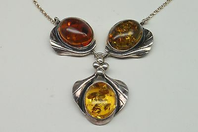"""Genuine Spangled Baltic Amber from Poland Sterling Silver Necklace 18"""" 22.1g"""