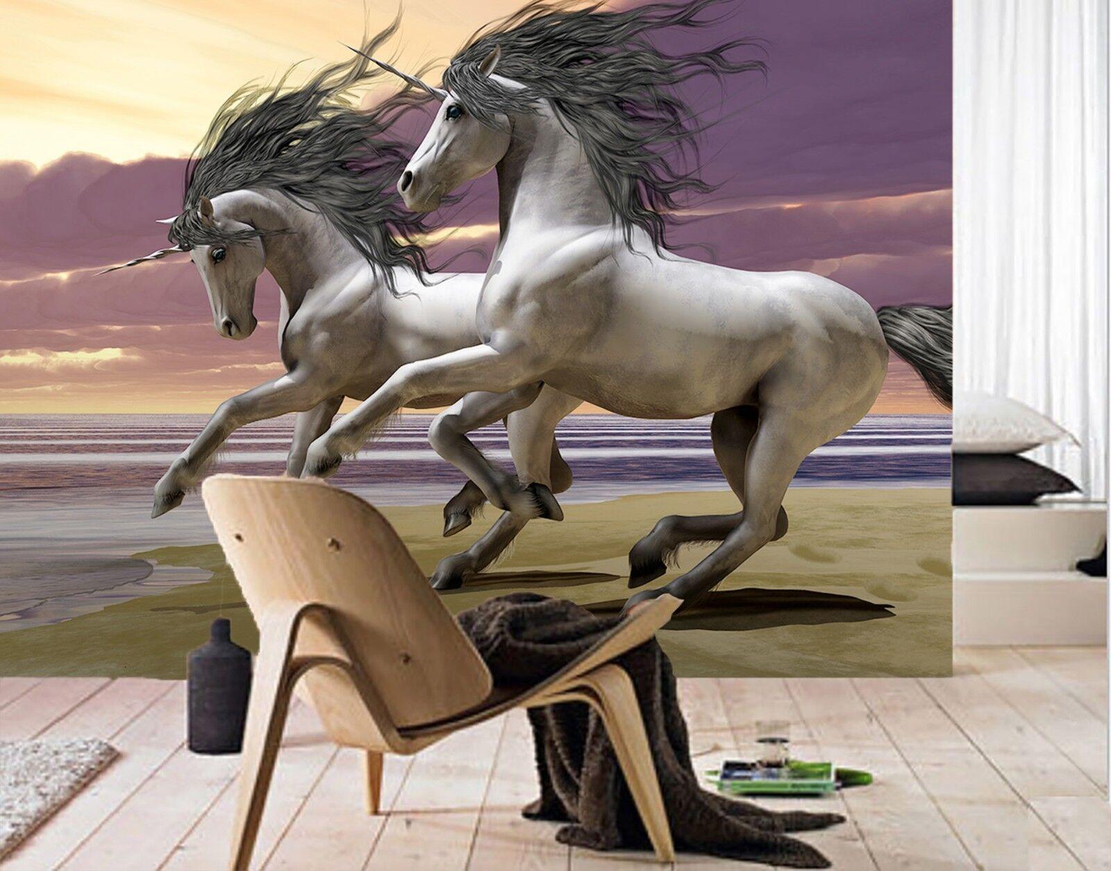 3D Dusk Beach Unicorn 1 Wallpaper Mural Print Wall Indoor Wallpaper Murals UK