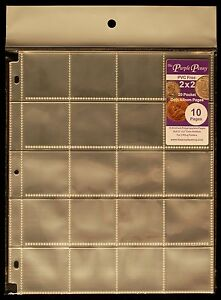 10-Pack-2x2-Coin-Album-Pages-PVC-FREE-20-Pockets-Polypropylene-Coin-Safe-NEW