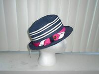 Juicy Couture Navy W/ White Stripes Straw Fedora W/ Hot Pink Band $58