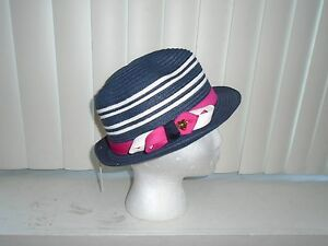 Juicy Couture Navy w  White Stripes Straw Fedora w  Hot Pink Band ... 73348c663d43
