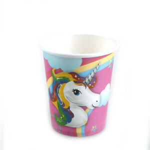 10pcs-Licorne-tasses-enfants-fete-d-039-anniversaire-fournitures-verre-de-papier-taf