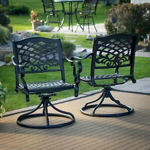 Outdoor-Furniture-Set-of-2-Black-Cast-Aluminum-Patio-Dining-Swivel-Arm-Chair-New