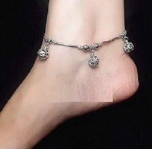 Confident Tibet Tibetan Silver 3 Hollow Balls Anklet A529 Fashion Jewelry