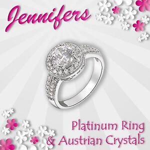 Halo-Ring-Ladies-Platinum-Women-Crystal-Cubic-Zircon-Exquisite-Girls-Gift-NEW