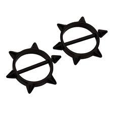 2pcs Black Nipple Barbells 316L Surgical 14G Steel Nipple Piercing X-mas Gift