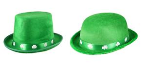 Green Felt Top Bowler Hat w//Shamrocks St Patricks Day Ireland Irish 5//10//15//20