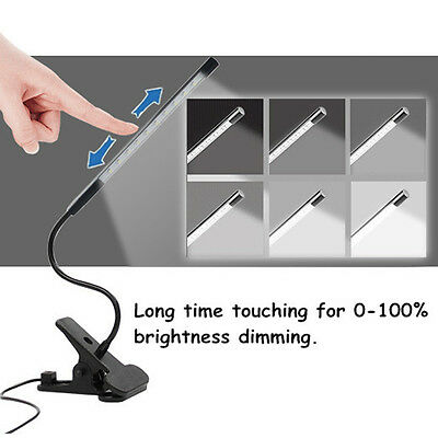 Dimmable Touch Sensor LED Clip-On Desk Table Reading Light Lamp USB Rechargeable