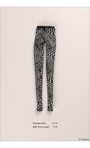 Dollmore fashion doll clothes 12inch size Fractal Mosaic Leggings Silver
