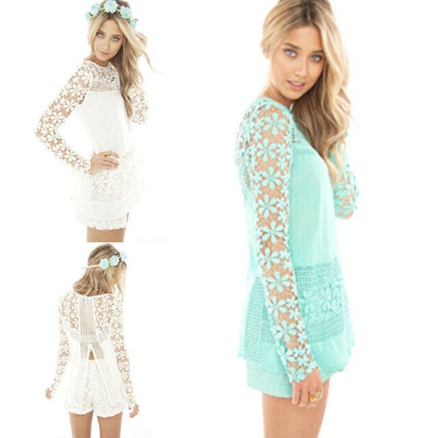 Hot Women Sheer Sleeve Embroidery Lace Crochet Chiffon Shirt Tops Blouse