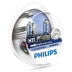 FREE-T10-PARKERS-H11-PHILIPS-CRYSTAL-VISION-12V-55W-4300K-WHITE-HALOGEN-BULBS