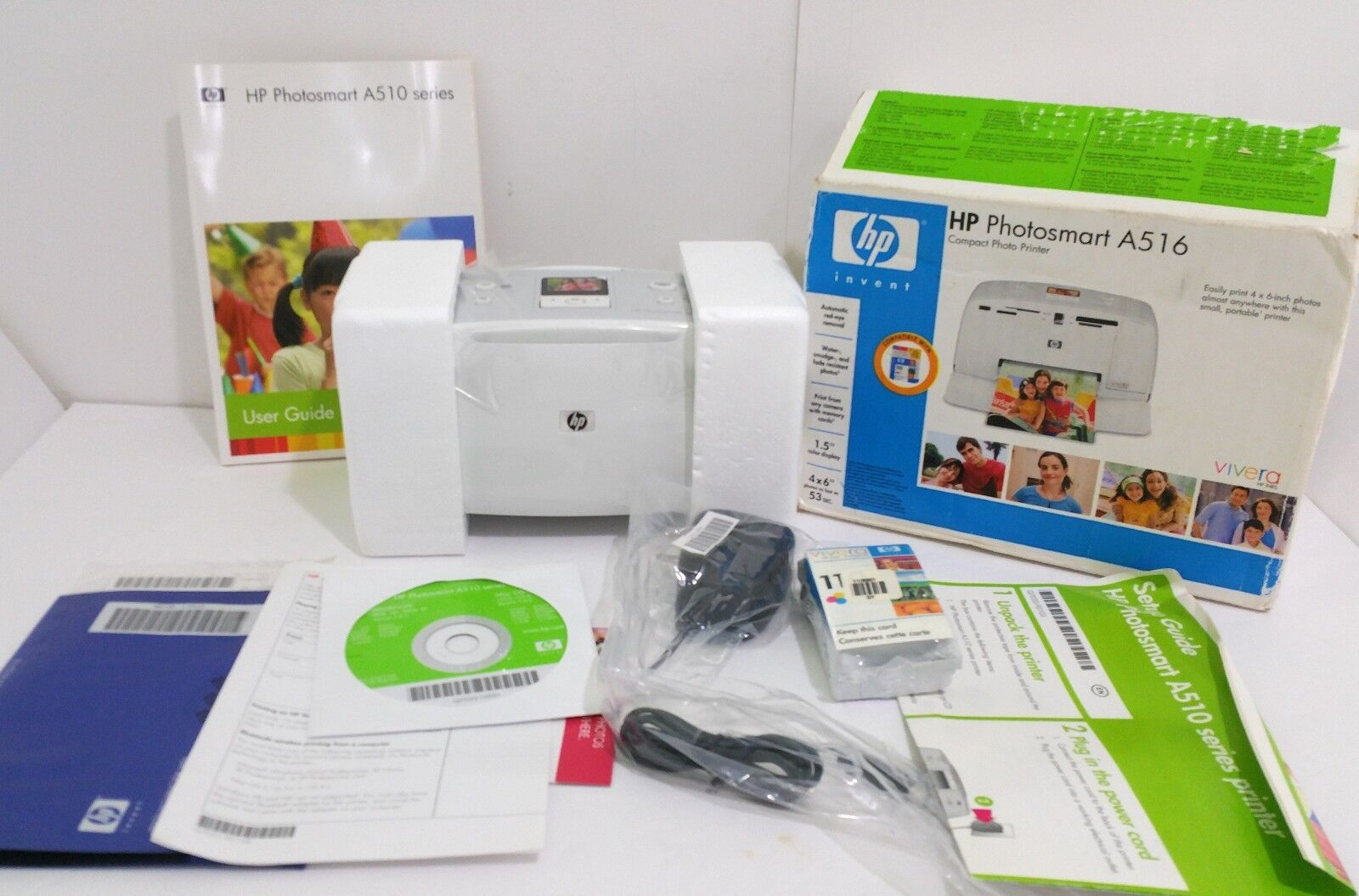 Genuine HP Photosmart A516 Compact Photo Printer