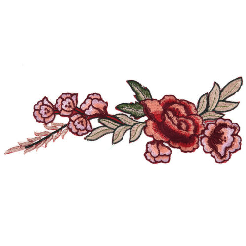 2pcs Rose Flower Applique Floral Sew Iron on Patches Badge Cool Embroidered、 CP