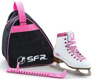Avoir Un Esprit De Recherche Sfr - Ice Skate Pack (ensemble Cadeau) - Blanc/rose Junior Glace Patins