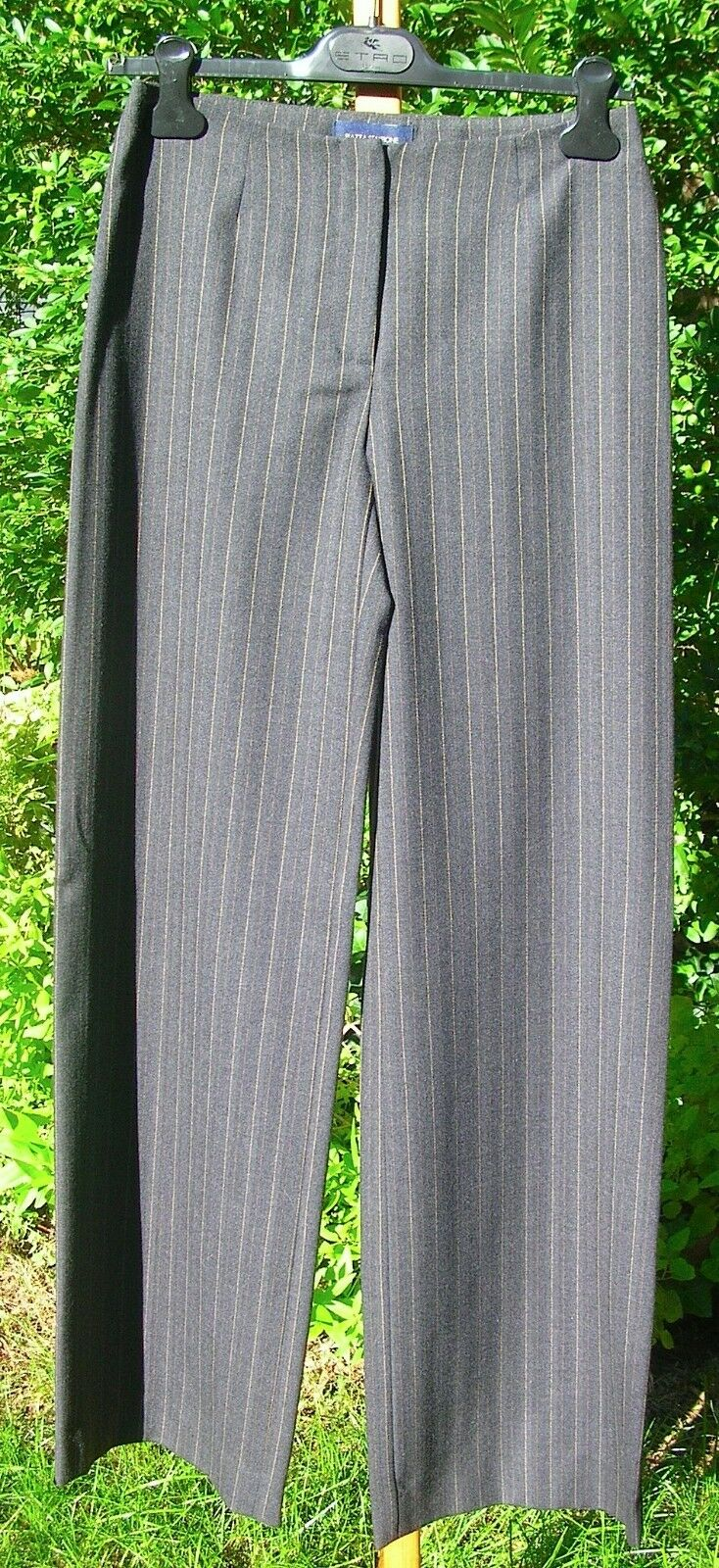 Piazza Sempione  MARILYN  Pants Soft Wool Stretch Grey Camel Stripe - 42 6 Nwt