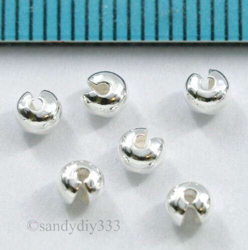 Plata esterlina brillante 100x Crimp Abalorios Nudos Cubierta 3.3 mm #2859A