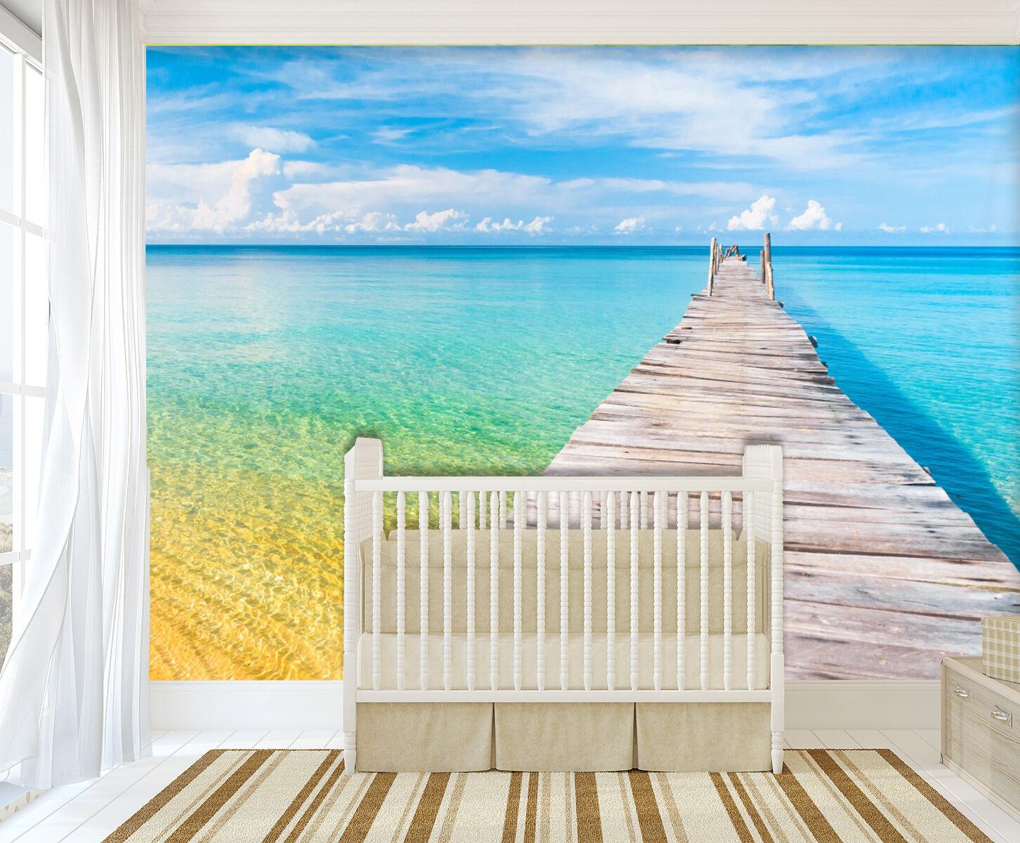 3D Ocean Bridge 883 WallPaper Murals Wall Print Decal Wall Deco AJ WALLPAPER