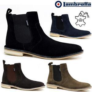 Para-hombres-Cuero-Chelsea-Botas-nuevo-Inteligente-Formal-Gamuza-Desierto-Botas-al-Tobillo-Zapatos