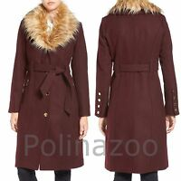 Guess Winter Wool Trench Coat With Faux Fur Trim Belted Beige Burgundy 2017