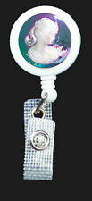 Iridescent CAMEO Retractable Reel ID Card Badge Holder/Key Ring chain