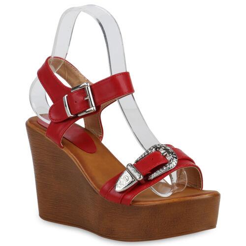 Damen Plateau Sandaletten High Heels Keilabsatz Sommer Schuhe 822947 Trendy