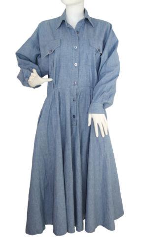 Norma Kamali Vintage c.1980's Chambray Blue Shirt