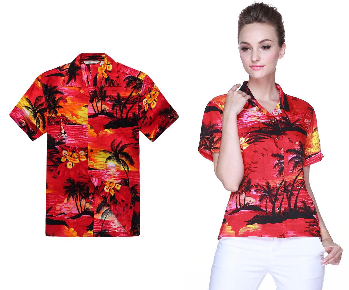 Couple Matching Shirts Hawaiian Cruise Luau Lady Party Sunset Red