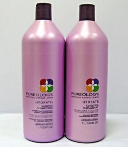 Pureology-Hydrate-Shampoo-amp-Conditioner-33-8-oz-Liter-Duo-Set-Antifade-SEALED