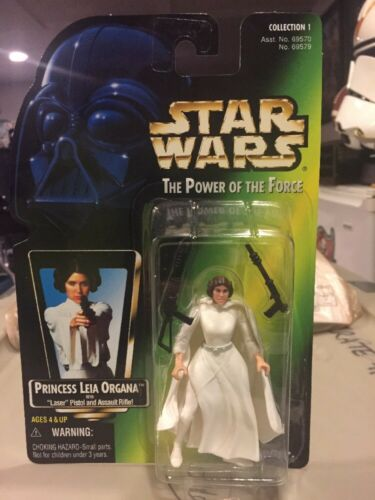 Princess Leia Star Wars POTF2 Power Of Force No Holo Green MOC .01 3 Bands Belt