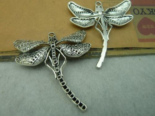 3//10pcs 55x50mm Lovely delicate dragonfly heavy charm pendant antique silver