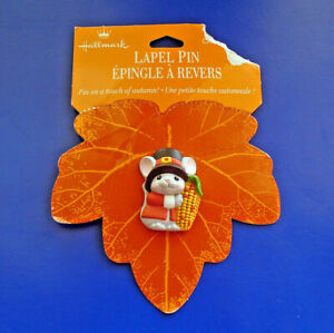 Hallmark-PIN-Thanksgiving-Vintage-PILGRIM-MOUSE-INDIAN-CORN-Holiday-Brooch-NEW