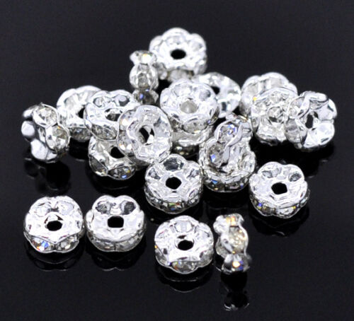 Großhandel Versilbert Weiß Strass Spacer Perlen Beads 5mm D.