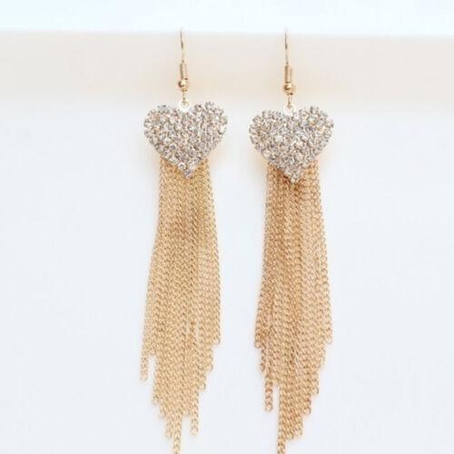 Women/'s Heart Pendant Long Tassels Rhinestone Hook Dangle Earrings Gift C