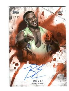 WWE-Big-E-2018-Topps-Undisputed-Orange-On-Card-Autograph-SN-83-of-99