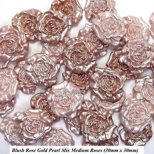 12 Blush Rose Gold Pearl Mix Sugar Roses edible wedding ...