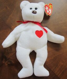 a60e7c25263 Ty Valentino White Beanie Baby Bear tag errors brown nose RetIRED ...