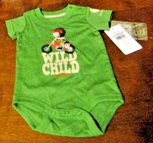 Carhartt infant boys green 1-piece w//snap closures child on bike /& /'WILD CHILD/'
