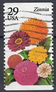 USA-Briefmarke-gestempelt-29c-Zinnia-Blumen-aus-Markenheft-202
